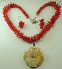 Statement Carved Coral Necklace  Earring Set Carved Fossil Coral Pendant Wedding