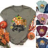 Women's Short Sleeve Round Neck Letter Print Shirts Sunflower Pumpkin T-shirt