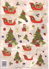 A4 3D Paper Tole Christmas Trees Santa Teddy Bears in Sleighs NEW