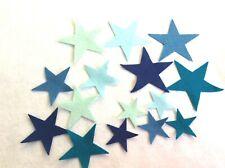 FELT  stars blue colours x 15  applique card making sewing craft