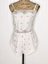 New listing Vintage Strawberry Print Lingerie Nightie Romper Playsuit Womens Size Medium