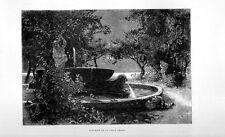 Stampa antica NAPOLI giardini di Villa Reale fontana 1877 Old print
