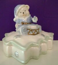 Trinket Keepsake Box Blue White Santa Bear Christmas Decoration Free Shipping