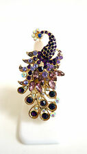 Peacock Ring, Fashion Jewelry, Cocktail Ring, Purple Pink Rhinestones Peacock