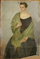 Russian Ukrainian Oil Painting portrait academism Lady Woman realism 1950s