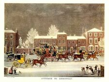 HORSES CARRIAGES COACHING STAGECOACH HORSES TROTTING IN FALLING SNOW CHRISTMAS