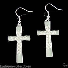 Big w Swarovski Crystal Cross Jesus Christ God Lord Religious Silver PL Earrings