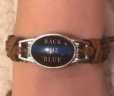 Back the Blue Police Cop Law Enforcement Support Adjustable Leather Bracelet
