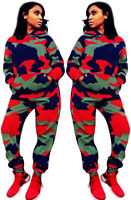 Women Camouflage Print Hooded Long Sleeves Casual Long Jumpsuit Outfits 2pcs