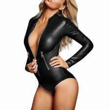 New Women's Faux Leather PVC Wet Bodysuit Catsuit*Long Sleeve*Black*Sexy*Medium*