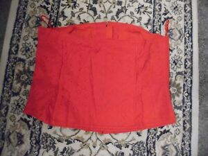 NWOT SIZE 22 BONED RED STRAPLESS BODICE EMBROIDERY ANGLAISE