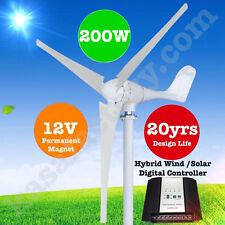 200W 12V Wind Turbine Generator 3 Blade - Digital Hybrid Wind/Solar Controller!!