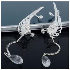 1 Pair Angel Wing Stylist Crystal Silver Plated Earrings Drop Dangle Ear St P5F1