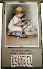 Adorable 1927 Ad Calendar w/ Little Girl Putting Her Kitten to Bed in Cradle *