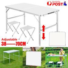 Folding Camping Table Aluminium Portable Picnic Outdoor BBQ Desk 2x Cloth Stool