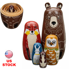5pcs Wooden Animal Painted Nesting Russian Dolls Set Babushka Matryoshka Gift