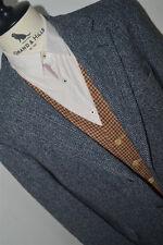 "HARRIS TWEED Blazer Jacket Herringbone Recent Dark Gray Blue men sz 42 R Lrg 46"""