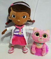 "Disney Plush Doc McStuffins 13"" Whispers Kitty Cat 7"" Pink Stuffed Animals Doll"