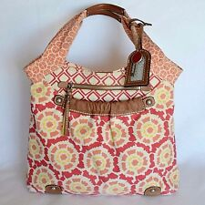 Fossil Large Hobo Shoulder Bag Tote Womens Orange Floral Canvas Purse Key & Tag
