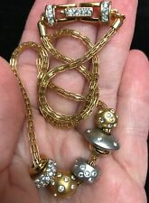 Swarovski Swan signed crystal Two tone gold tone necklace
