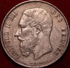 1876 Belgium 5 Francs Silver Foreign Coin