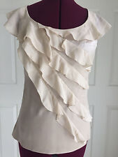 White House Black Market Beige Ruffled Front Silk Blend Shirt Blouse Top Sz 0