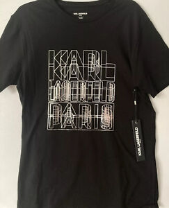 NWT Karl Lagerfeld Paris Men's Black Medium Logo T-Shirt Foil Tee Cotton HTF
