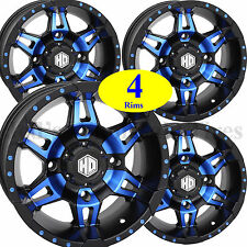FOUR 14x7 4/156 STI Aluminum ATV RIMs WHEELs HD7 Radiant BLUE most Polaris