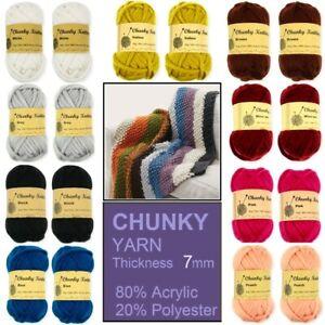 Chenille Mix & Chunky Knitting Yarn Balls Super Soft Acrylic Craft Malli Wool