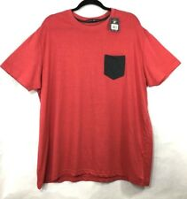 Beverly Hills Polo Club Mens Pocket Front Tee T-Shirt Sz XXL Red with Gray