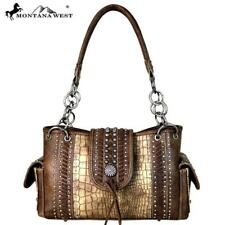 Montana West Tote Purse w/ Side Pockets - Coffee ~ Croc Embossed Saddle Stitched