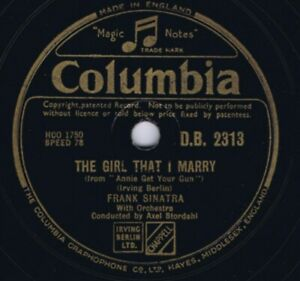 78 rpm FRANK SINATRA Oh What A Beautiful Mornin' / The Girl..UK 1947 Shellac