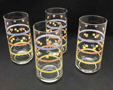 Vintage Pastel Decorated Flat Tumblers (set of 4) - Hearts, Cubes and Flowers