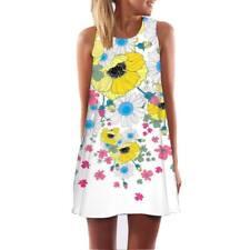 Vintage Boho Women Summer Sleeveless Beach Printed Short Mini Dress Top T Shirt