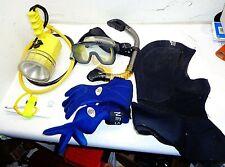 Pelican Brite Lite 5000 Dacor Ultra Ii Scuba Goggles Gloves Hood Snorkel Hoses +