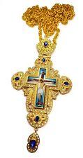 Pectoral Cross Blue Multi Zircon Crystallized Elements Christian Priest Crucifix