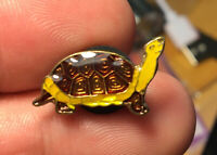 Turtle enamel pin NOS vintage 80s hat lapel bag brooch animal box pets
