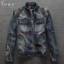 Mens Rivet Classic Punk Stylish Denim Ripped Biker Jeans Jacket Rock Coats 2016
