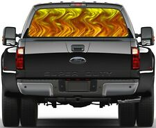 Yellow Flame Rear Window Graphic Decal for Truck SUV Vans