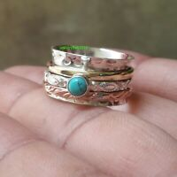 Turquoise Solid 925 Sterling Silver Spinner Ring Meditation Statement Ring Sr706