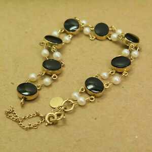 "Vintage Bold Black Oval Onyx & Dainty Pearl 1/20 12KGF Bracelet CC 7.25"" 9.8g"