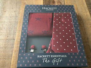 Mens Hackett London Tie/Sock/Cufflink Gift Set Burgundy New!!!