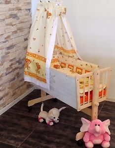 Baby Wiege Stubenwagen Beistell Bett Set Himmel Matratze 6 Farben weiß-grau NEU