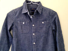 NWT POLO Ralph Lauren Boys' Long Sleeve Blue Button Up Dress Shirt M 10 12 $50