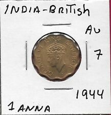INDIA BRITISH 1 ANNA 1944 XF-AU GEORGE VI,SECOND HEAD,LOW RELIEF,LARGE CROWN,LE