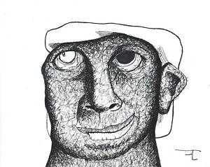 Dessin original sur papier au feutre - signé - Artiste  FLAVIEN COUCHE