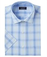 Club Room Mens Blue US Size 14 1/2 Plaid Print Short Sleeve Dress Shirt $35 121