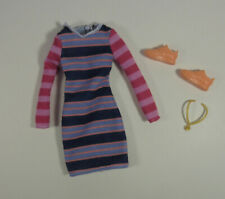 2020 Barbie Fashionista 147 Striped Dress Sneakers Necklace Outfit Mattel