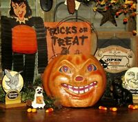 Prim Antique Vtg Style Large Halloween Paper Mache Jack-O-Lantern Pumpkin Bucket