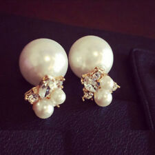 Women Girls Fashion Crystal Double Sides Pearl Ball Stud Earrings Jewelry Gift
